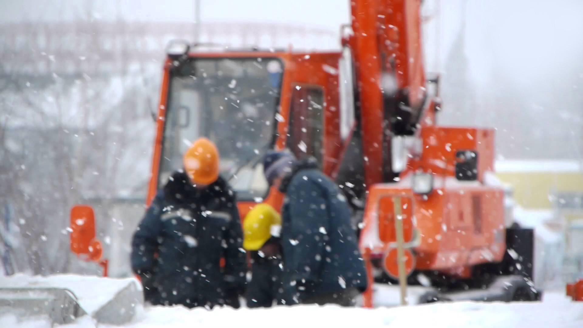 winterscene hijswerken